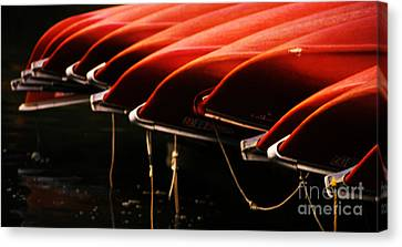Canoes Of Red Canvas Print by Bob Christopher