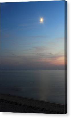 Cape Cod Bay Dusk Moon Canvas Print by John Burk