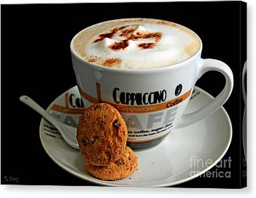 Cappuccino Coffee N Cookies Canvas Print by Tracy  Hall