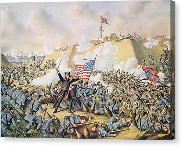 Capture Of Fort Fisher 15th January 1865 Canvas Print by American School