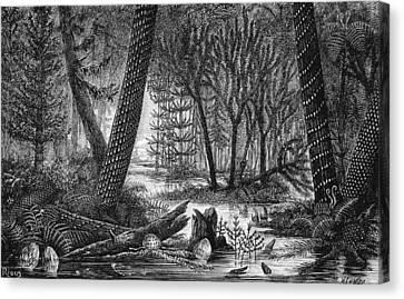 Carboniferous Swamp, 19th Century Artwork Canvas Print by