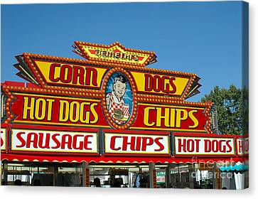 Carnival Festival Fun Fair Hot Dog Stand Canvas Print by Kathy Fornal