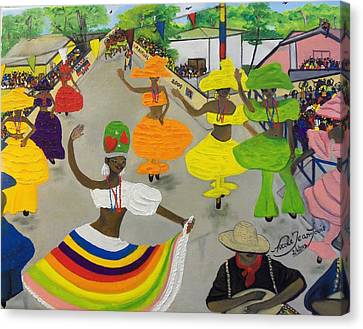 Carnival In Port-au-prince Haiti Canvas Print by Nicole Jean-Louis