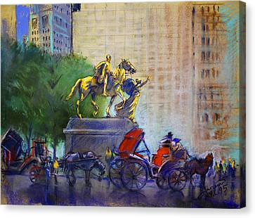 Carriage Rides In Nyc Canvas Print by Ylli Haruni