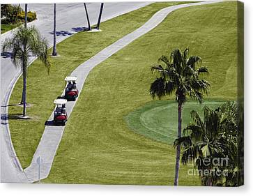 Carts On A Golf Course Canvas Print by Skip Nall