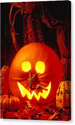 Carved Pumpkin With Fall Leaves Canvas Print by Garry Gay
