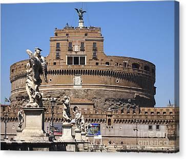 Castel Saint Angelo On The River Tiber. Rome Canvas Print by Bernard Jaubert