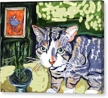 Cat And Mouse Friends Canvas Print by Patricia Lazar