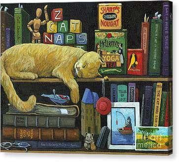 Cat Naps - Old Books Oil Painting Canvas Print by Linda Apple