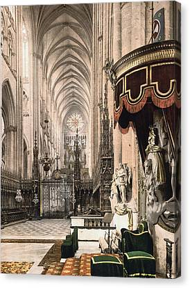 Cathedral In Amiens France Canvas Print by International  Images