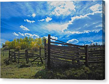 Cattle Chute And Corral Canvas Print by Stephen  Johnson