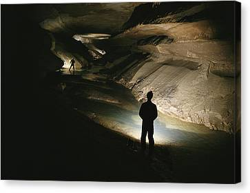 Cavers Stand In The New Discover Canvas Print by Stephen Alvarez