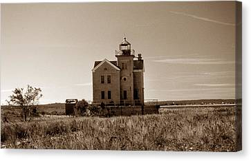 Cedar Island Lighthouse Canvas Print by Skip Willits