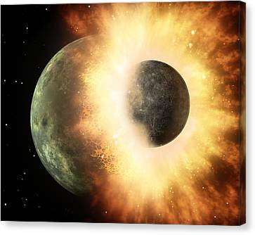 Celestial Impact, Artwork Canvas Print by Nasajpl-caltech