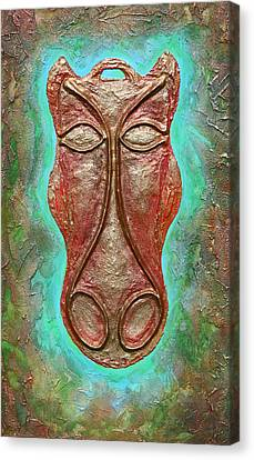 Celtic Horse Head Mask Canvas Print by Zoran Peshich