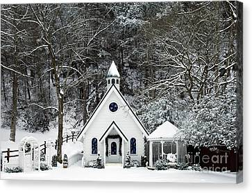 Chapel In The Snow - D007592 Canvas Print by Daniel Dempster