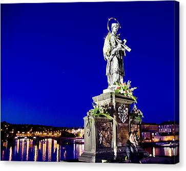 Charles Bridge Statue Of St John Of Nepomuk     Canvas Print by Jon Berghoff