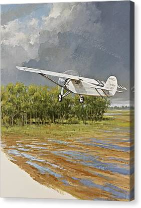 Charles Lindbergh Taking Off Canvas Print by Cliff Spohn