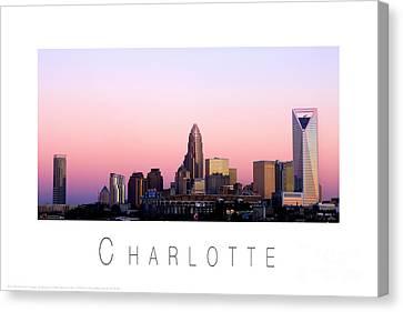 Charlotte Nc Skyline Pink Sky Canvas Print by Patrick Schneider