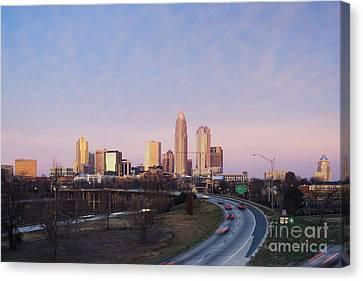 Charlotte Skyline At Sunrise Canvas Print by Jeremy Woodhouse