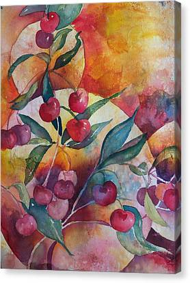 Cherries In The Sun Canvas Print by Sandy Collier