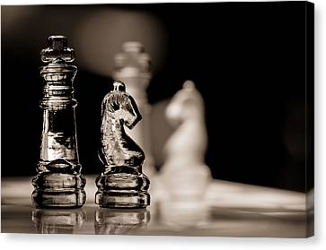 Chess King And Knight Canvas Print by Lori Coleman