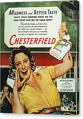 Chesterfield Cigarette Ad Canvas Print by Granger