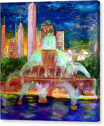 Chicacgo Buckingham Fountain Canvas Print by Char Swift