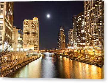 Chicago At Night At Columbus Drive Bridge Canvas Print by Paul Velgos