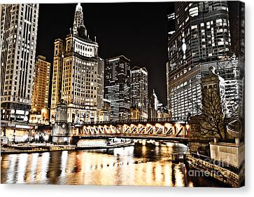 Chicago City At Night Canvas Print by Paul Velgos