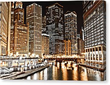 Chicago City Skyline At Night Canvas Print by Paul Velgos