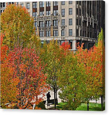 Chicago In Autumn Canvas Print by Mary Machare