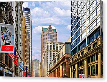 Chicago - Looking South From Lasalle Street Canvas Print by Christine Till