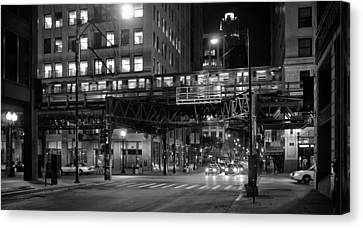 Chicago Night Train Canvas Print by Michael Avory