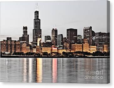 Chicago Skyline At Dusk Photo Canvas Print by Paul Velgos