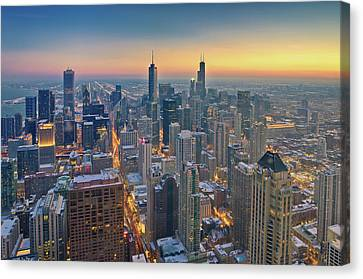 Chicago Skyline In Blue Hour Canvas Print by Delobbo.com