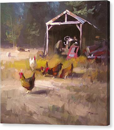 Chickens In Paradise Canvas Print by Richard Robinson