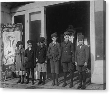 Children At A Penny Arcade, Original Canvas Print by Everett