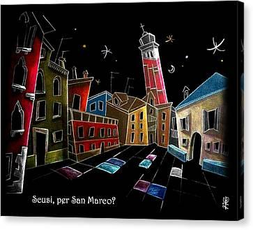 Children Book Illustration Venice Italy - Libri Illustrati Per Bambini Venezia Italia Canvas Print by Arte Venezia