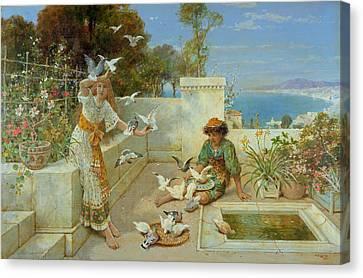Children By The Mediterranean  Canvas Print by William Stephen Coleman