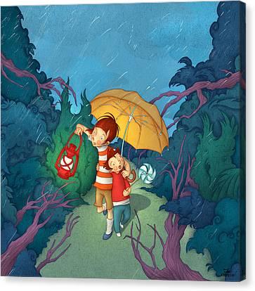 Children On Nocturnal Forest Canvas Print by Autogiro Illustration
