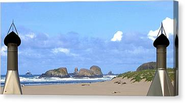 Chimneys Of Cannon Beach Canvas Print by Will Borden