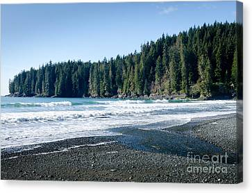 China Surf China Beach Juan De Fuca Provincial Park Bc Canada Canvas Print by Andy Smy