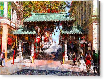 Chinatown Gate In San Francisco . Painterly . 7d7139 Canvas Print by Wingsdomain Art and Photography