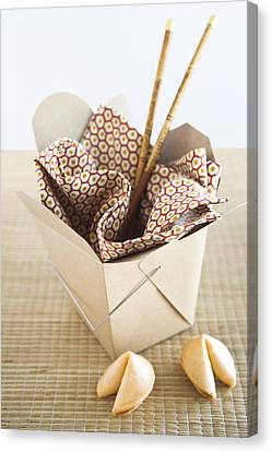 Chinese Takeout Container And Fortune Cookies Canvas Print by Pam McLean