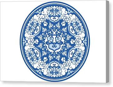 Chinese Traditional Blue And White Porcelain Style Pattern Canvas Print by BJI Blue Jean Images