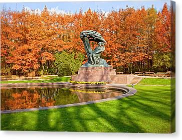 Chopin Monument In The Lazienki Park Canvas Print by Artur Bogacki