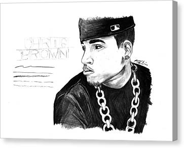 Chris Brown Drawing Canvas Print by Pierre Louis