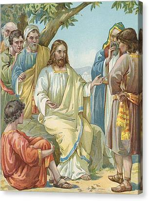 Christ And His Disciples Canvas Print by Ambrose Dudley