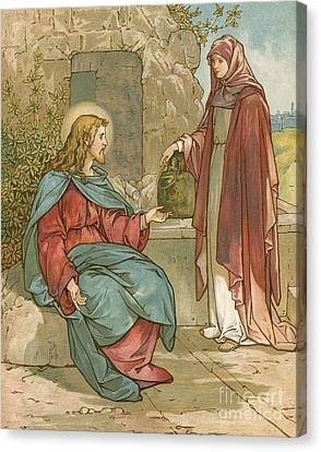 Christ And The Woman Of Samaria Canvas Print by John Lawson
